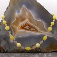 Lemon Jade Semi-Precious Stone Necklace, Unique Necklace Design MS606