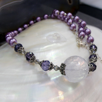 Lilac Quartz and Pearl Necklace FN20