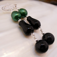 Long Gemstone & Pearl Earrings, Unique Earring Design MS593