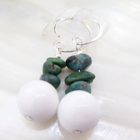 Turquoise & Jade earrings, blue, white gemstone earrings MS596