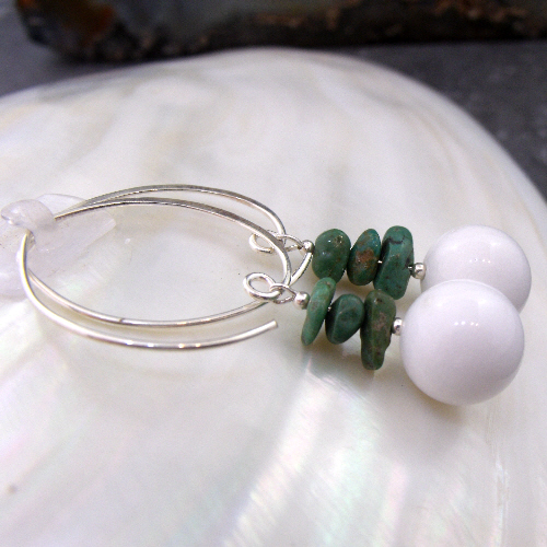Unique Long White Jade & Turquoise Earrings, Gemstone Earrings  MS597
