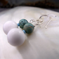 Blue & White Drop Earrings, Gemstone Earrings  MS598