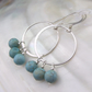 Unique Turquoise Silver Hoop Earrings, Gemstone Earrings  MS599