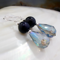 Blue Crystal Drop Earrings, Blue Gemstone Earrings MS591