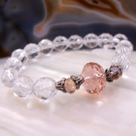 Pink Crystal Beaded Bracelet, Unique Bracelet MS88