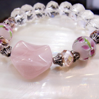 Pink Gemstone Bracelet, Unique Bracelet MS87