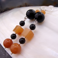 Orange and black gemstone earrings, long dangle earrings MS588