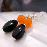 Black and orange handmade earrings, semi-precious drop earrings MS589