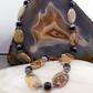 Long Jasper necklace, long semi-precious gemstone necklace ms616