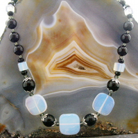 Opal Quartz & Black Onyx Gemstone Necklace ms617
