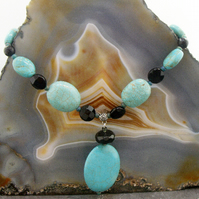 Turquoise pendant necklace, unique semi-precious gemstone necklace  ms628