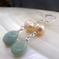 Pearl and Amazonite semi-precious gemstone earrings  Semi-precious earrings