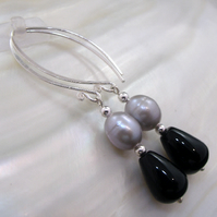 Gemstone and pearl earrings, long dangle earrings  ms613