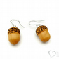 Wooden Acorn Earrings with Sterling Silver ear wires