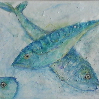 "Mackerel Painting, Fish Art, Fish Abstract, , Original titled, ""Peepo"""