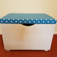Medium Toy Box With Upholstered Seat Lid - Personalised - Handmade Recycled Wood