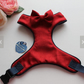 Handmade Red Herringbone Tweed soft adjustable Dog Harness with bow