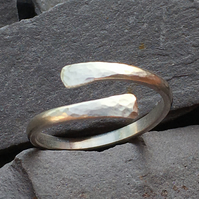 Textured wrap around sterling silver ring