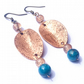 Handcrafted hammered antiqued copper & natural apatite earrings