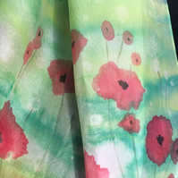 Hand painted 100% silk scarf