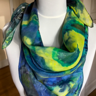 100% silk ponge 5, floaty, hand painted scarf. 90cm x 90cm.  Swirling design.