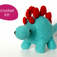 Beginner Crochet Kit. Stegosaurus Dinosaur Crochet Kit