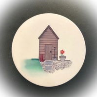 Set of 4 ceramic garden coasters