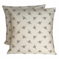 "2 X 16"" Bee Print Cream Grey Cushion Covers"