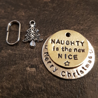 Naughty Is The New Nice Christmas dog pet handmade stamped tags PoshTags