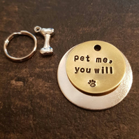 Pet me you will - Star Wars inspired dog pet handmade stamped tags PoshTags