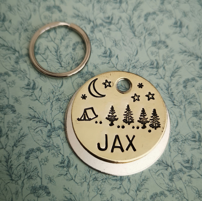Camping forest scene night time - dog pet handmade stamped tags PoshTags
