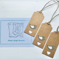 Handmade Bird Gift Tags - set of three