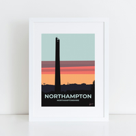 Northampton National Lift Tower at Sunrise A3 mounted Northamptonshire
