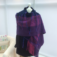 Handmade Handwoven shawl wrap Purple navy pink Magical scarf