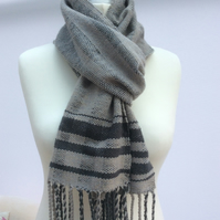 Handmade Handwoven neutral taupe grey scarf