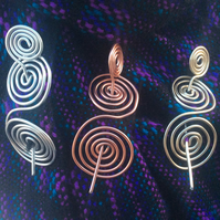 Silver , gold, copper plated spiral  shawl, scarf pin, hair Barrette