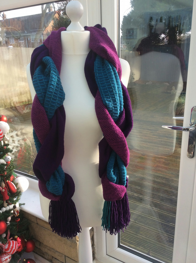 Handmade Handwoven platted jewel tone scarf