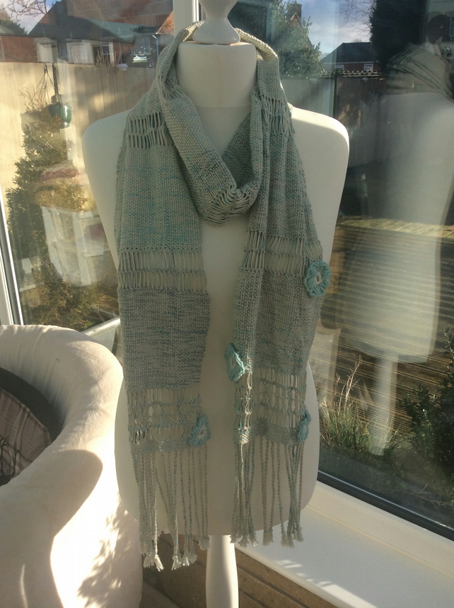 Handmade Handwoven Vintage Duck Egg Blues Scarf