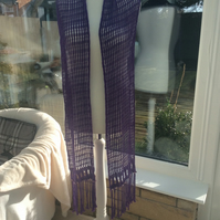 Handmade Handwoven violet bamboo lacy scarf