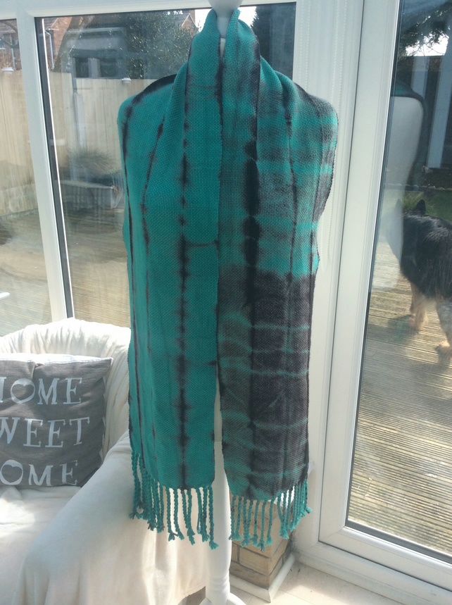 Handmade Handwoven Tremendously Teal Scarf