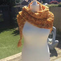 Handmade crochet scarf in rich merino, hand dyed Dragons Glow