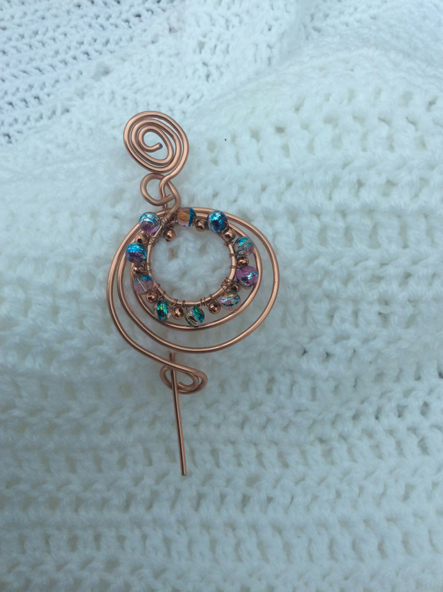 Copper plated turquoise crystal shawl pin, hair barrette