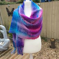 Handwoven handmade vibrant pink purples blues cotton scarf shawl