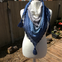 Handmade crochet triangle lace scarf