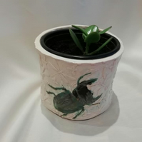 clay stag beetle flower pot