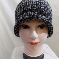 black and silver sparkle ladies winter hat