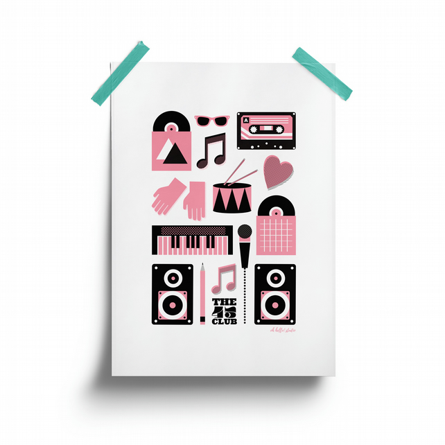 Print of music-themed graphic elements in black and pastel pink.