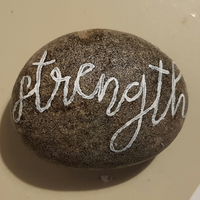 Hand Painted Pebble Inspirational Words Strength Art Rock Stone Painting
