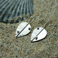 Hand made, sterling silver leaf earrings.
