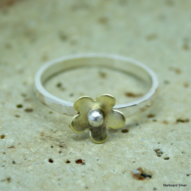Sterling silver and brass daisy stacking ring